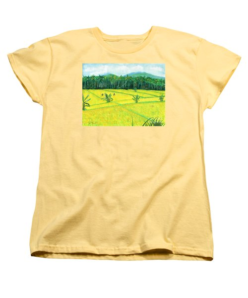 Women's T-Shirt (Standard Cut) featuring the painting On The Way To Ubud II Bali Indonesia by Melly Terpening
