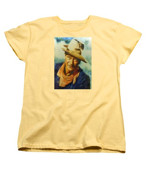 Women's T-Shirt (Standard Cut) featuring the digital art Portrait Of John Wayne by Charmaine Zoe