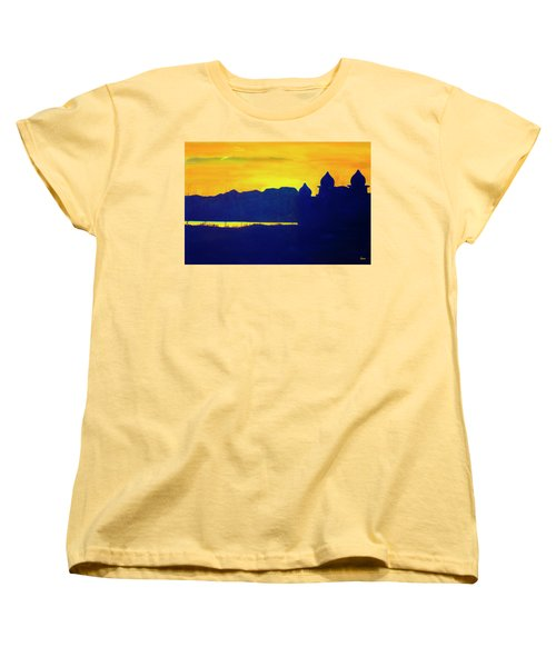 Women's T-Shirt (Standard Cut) featuring the painting Saltair Sunset by Jane Autry