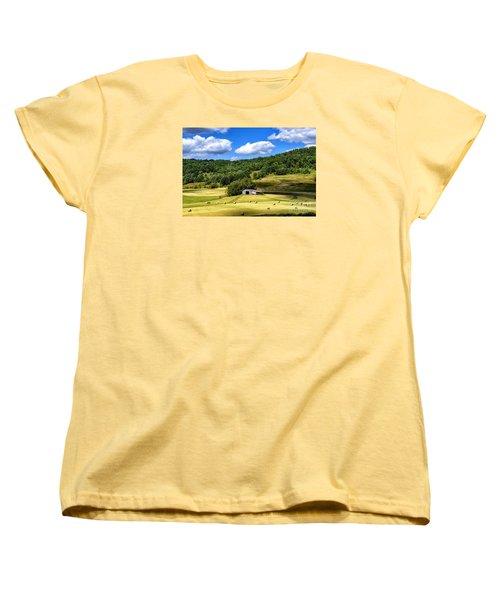 Summer Morning Hay Field Women's T-Shirt (Standard Cut) by Thomas R Fletcher