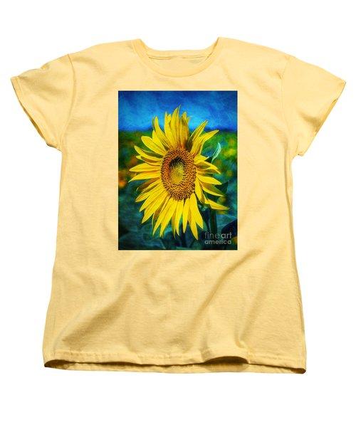 Women's T-Shirt (Standard Cut) featuring the digital art Sunflower by Ian Mitchell
