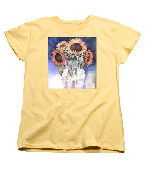 Women's T-Shirt (Standard Cut) featuring the painting Sunflowers by Nadine Dennis