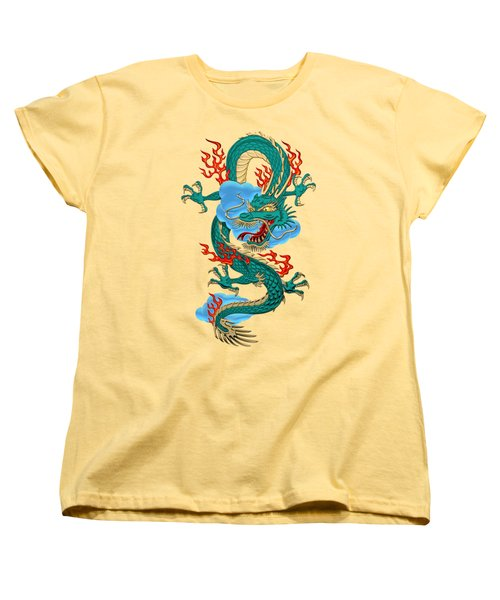 The Great Dragon Spirits - Turquoise Dragon On Rice Paper Women's T-Shirt (Standard Cut) by Serge Averbukh