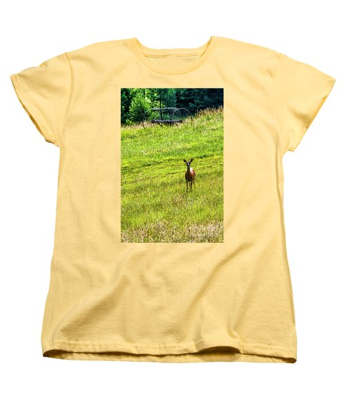 Women's T-Shirt (Standard Cut) featuring the photograph Whitetail Deer And Hay Rake by Thomas R Fletcher