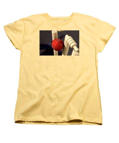 Cricket Ball Hitting Wickets Women's T-Shirt (Standard Cut) by Allan Swart