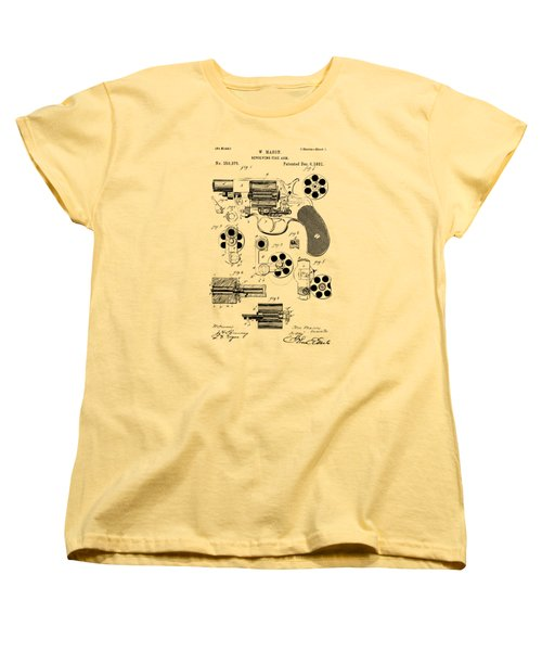 Women's T-Shirt (Standard Cut) featuring the drawing 1881 Colt Revolving Fire Arm Patent Artwork Vintage by Nikki Marie Smith