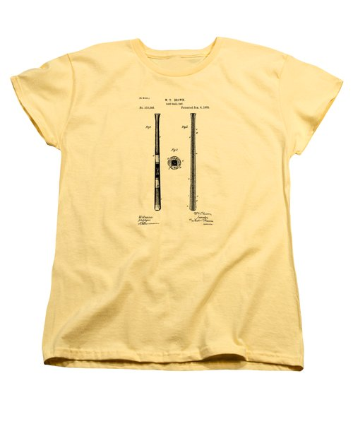 1885 Baseball Bat Patent Artwork - Vintage Women's T-Shirt (Standard Cut) by Nikki Marie Smith