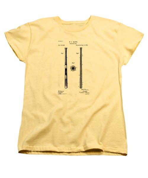 1885 Baseball Bat Patent Artwork - Vintage Women's T-Shirt (Standard Cut) by Nikki Marie Smith