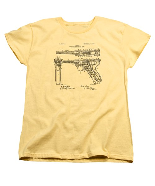 Women's T-Shirt (Standard Cut) featuring the drawing 1904 Luger Recoil Loading Small Arms Patent - Vintage by Nikki Marie Smith