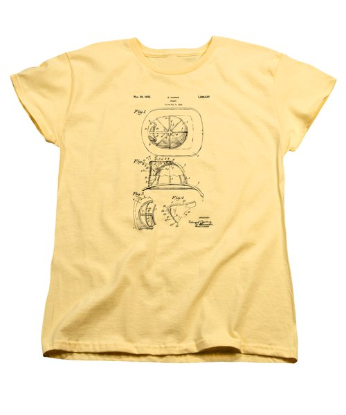 Women's T-Shirt (Standard Cut) featuring the drawing 1932 Fireman Helmet Artwork Vintage by Nikki Marie Smith