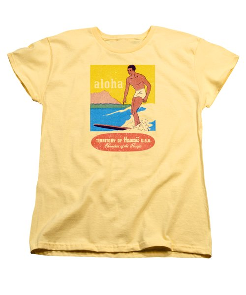 Women's T-Shirt (Standard Cut) featuring the painting 1950 Aloha Hawaii by Historic Image