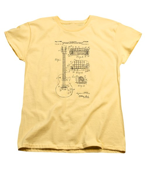 1955 Mccarty Gibson Les Paul Guitar Patent Artwork Vintage Women's T-Shirt (Standard Cut) by Nikki Marie Smith