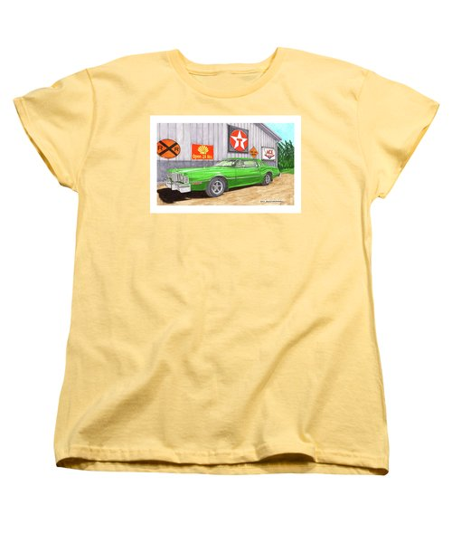 Women's T-Shirt (Standard Cut) featuring the painting 1976 Ford Thunderbird by Jack Pumphrey