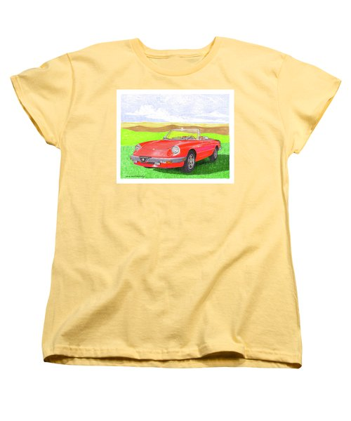Women's T-Shirt (Standard Cut) featuring the painting 1983 Alfa Romero Spider Veloce by Jack Pumphrey