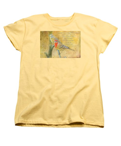 A Pair Of Housefinches With Verse Part 2 - Digital Paint Women's T-Shirt (Standard Cut) by Debbie Portwood