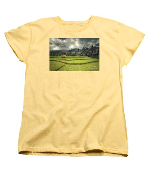 Women's T-Shirt (Standard Cut) featuring the photograph Paddy Field by Charuhas Images