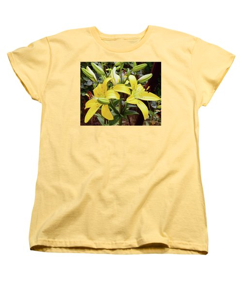 Women's T-Shirt (Standard Cut) featuring the photograph Yellow Lily by Elvira Ladocki