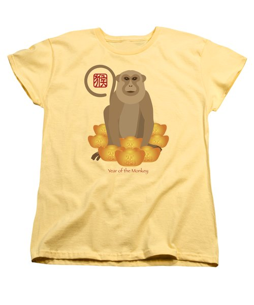 2016 Chinese Year Of The Monkey With Gold Bars Women's T-Shirt (Standard Cut) by Jit Lim
