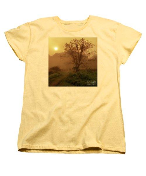 Misty Mountain Sunrise Women's T-Shirt (Standard Cut) by Thomas R Fletcher