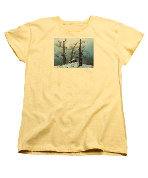 Cairn In Snow Women's T-Shirt (Standard Cut) by Caspar David Friedrich