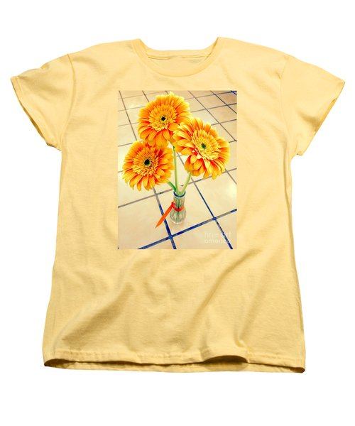 3 Golden Yellow Daisies Gift To My Beautiful Wife Suffering With No Hair Suffering Frombreast Cancer Women's T-Shirt (Standard Cut) by Richard W Linford