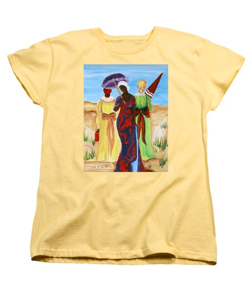 Women's T-Shirt (Standard Cut) featuring the painting 3 Ladies by Diane Britton Dunham