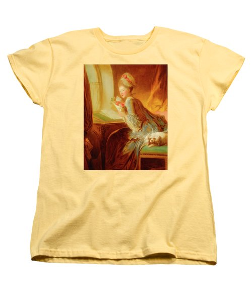 Women's T-Shirt (Standard Cut) featuring the painting The Love Letter by Jean Honore Fragonard