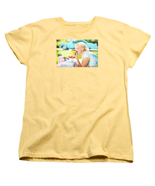 Vintage Val In The Turquoise Vintage Car Women's T-Shirt (Standard Cut) by Jill Wellington