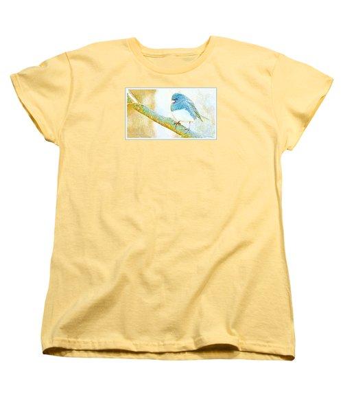 Women's T-Shirt (Standard Cut) featuring the digital art Slate Colored Junco Snowbird Male Animal Portrait by A Gurmankin