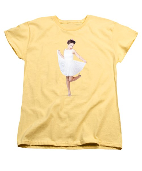 50s Pinup Woman In White Dress Dancing Women's T-Shirt (Standard Cut) by Jorgo Photography - Wall Art Gallery