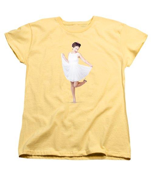 50s Pinup Woman In White Dress Dancing Women's T-Shirt (Standard Cut)