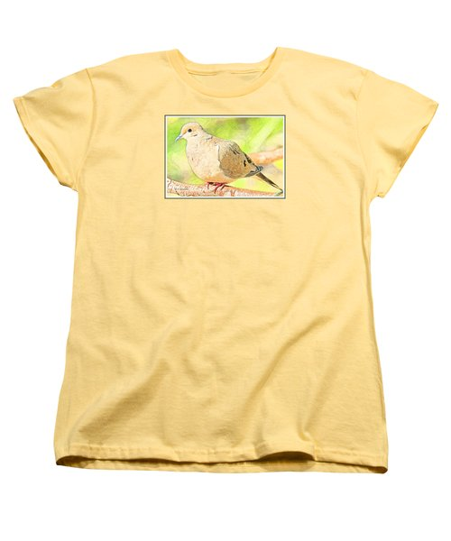 Women's T-Shirt (Standard Cut) featuring the digital art Mourning Dove Animal Portrait by A Gurmankin