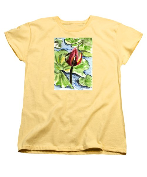 Women's T-Shirt (Standard Cut) featuring the painting A Birth Of A Life by Harsh Malik