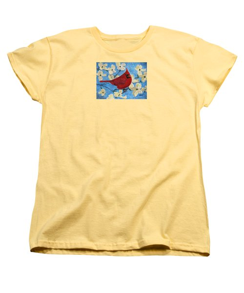 Women's T-Shirt (Standard Cut) featuring the painting A Cardinal Spring by Angela Davies