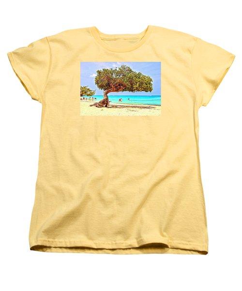 Women's T-Shirt (Standard Cut) featuring the photograph A Day At Eagle Beach by DJ Florek