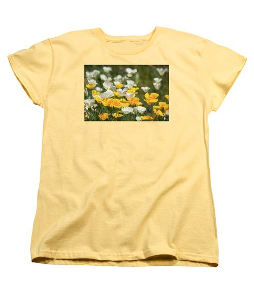 Women's T-Shirt (Standard Cut) featuring the photograph A Field Of Golden And White Poppies  by Saija Lehtonen