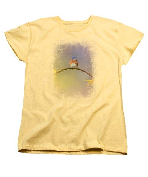 A Little Blue In The Garden Women's T-Shirt (Standard Cut) by Jai Johnson