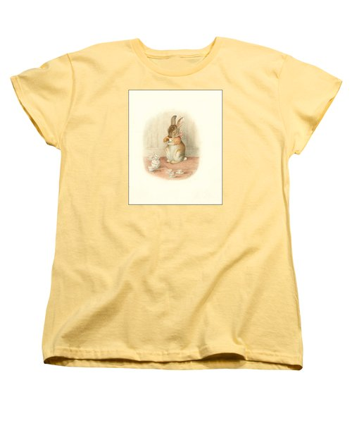 A Rabbit's Tea Party Women's T-Shirt (Standard Cut) by Beatrix Potter