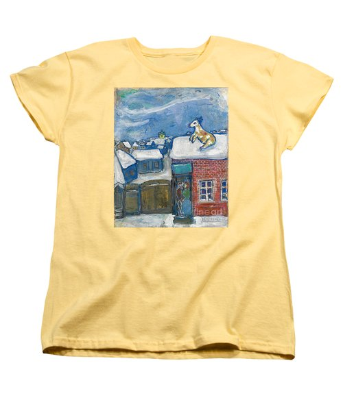 A Village In Winter Women's T-Shirt (Standard Cut) by Marc Chagall