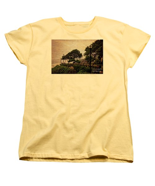 Women's T-Shirt (Standard Cut) featuring the photograph A Walk On The Edge - Peru by Mary Machare
