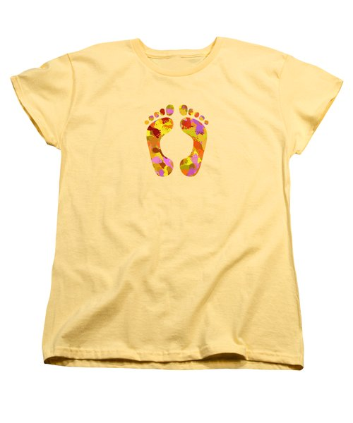 Abstract Footprints On Canvas Women's T-Shirt (Standard Fit)