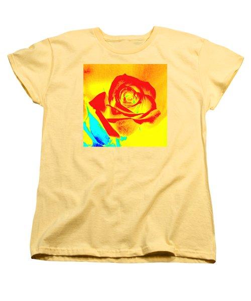 Abstract Orange Rose Women's T-Shirt (Standard Cut) by Karen J Shine