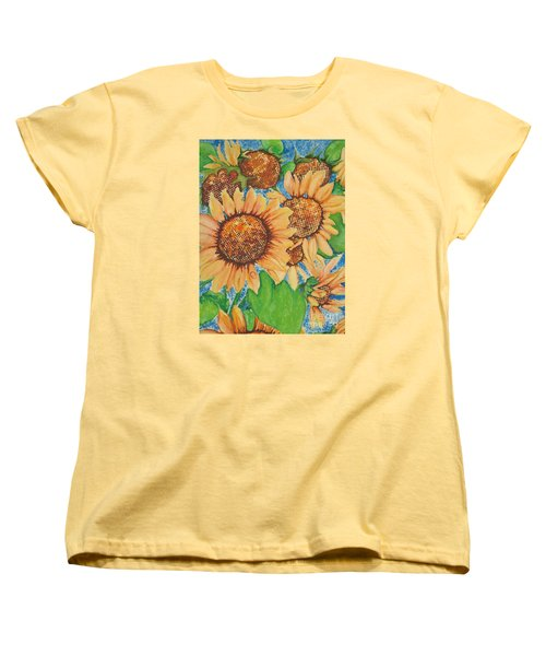 Women's T-Shirt (Standard Cut) featuring the painting Abstract Sunflowers by Chrisann Ellis