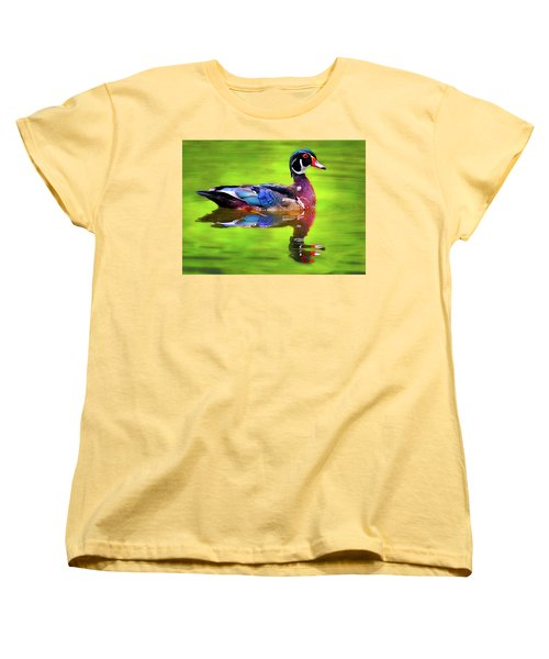 Women's T-Shirt (Standard Cut) featuring the photograph Almost Perfect Wood Duck by Jean Noren