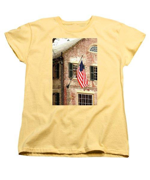 American Flag In Colonial Williamsburg Women's T-Shirt (Standard Cut)