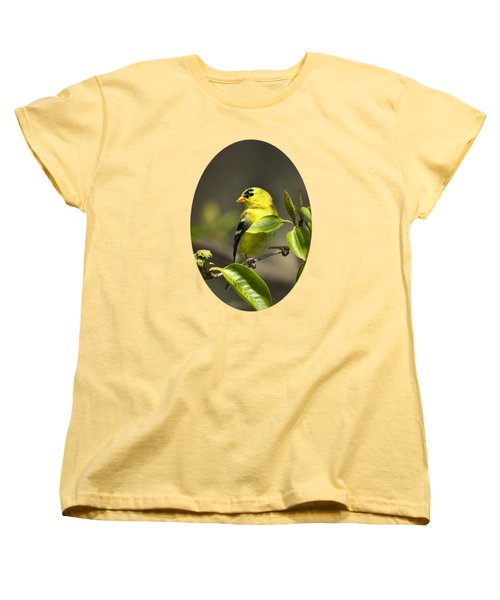American Goldfinch On Branch Women's T-Shirt (Standard Cut) by Christina Rollo