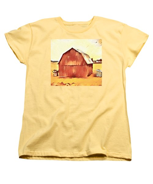 Women's T-Shirt (Standard Cut) featuring the painting American Gothic Red Barn by Dan Sproul