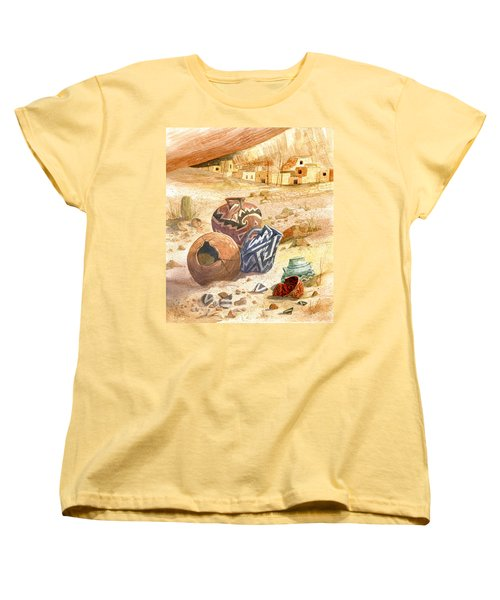 Women's T-Shirt (Standard Cut) featuring the painting Anasazi Remnants by Marilyn Smith