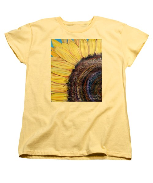 Women's T-Shirt (Standard Cut) featuring the painting Anatomy Of A Sunflower by Ecinja Art Works