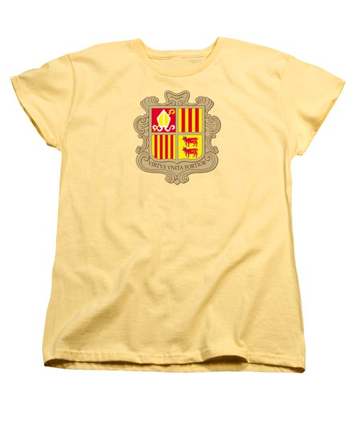 Women's T-Shirt (Standard Cut) featuring the drawing Andorra Coat Of Arms by Movie Poster Prints